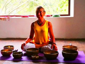 Yoga and meditation with Tibetan bowls in Buddhacasa, Las Manchas De Abajo, Los Llanos de Aridane, La Palma, Canary Island, Spain.